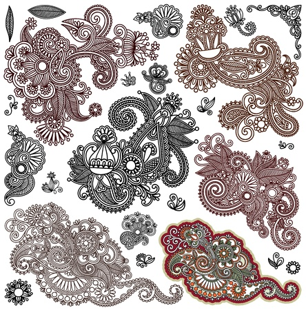 henna design: collection of original hand draw line art ornate flower design. Ukrainian traditional style