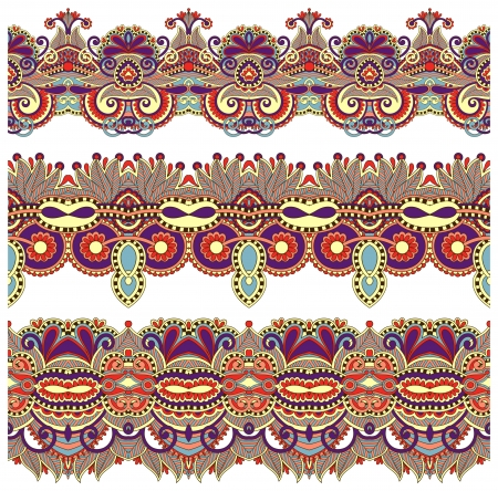 strap: collection of seamless ornamental floral stripes