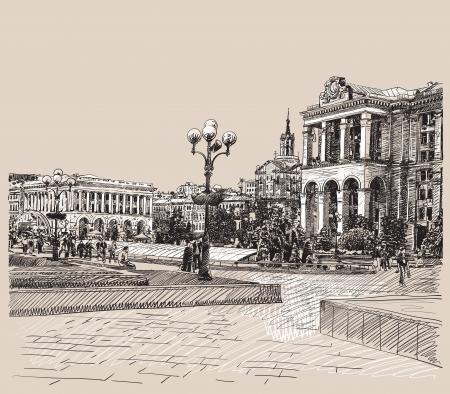 키예프 역사적 건물의 디지털 그림 예술적인 그림을 스케치
