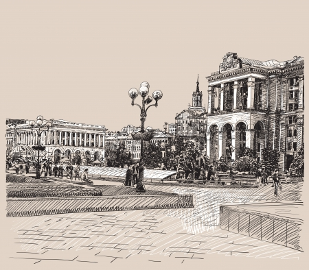 sketch digital drawing artistic picture of Kiev historical building Vector