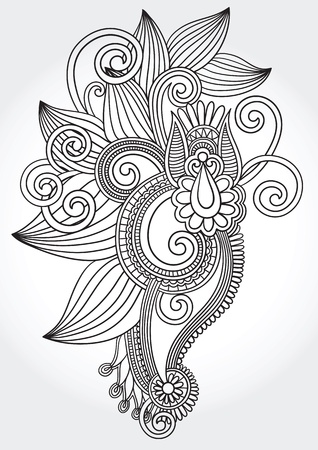 hindi: black and white original hand draw line art ornate flower design. Ukrainian traditional style