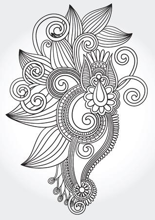 hindi: in bianco e nero originale mano draw line art ornato, fiore, disegno. Ucraino stile tradizionale