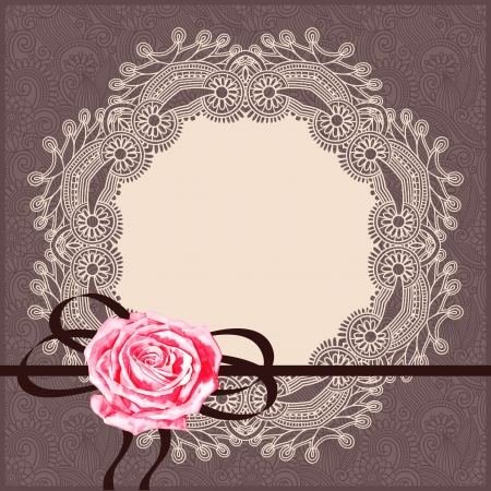 ornamental card pattern with circle napkin, ribbon Vector
