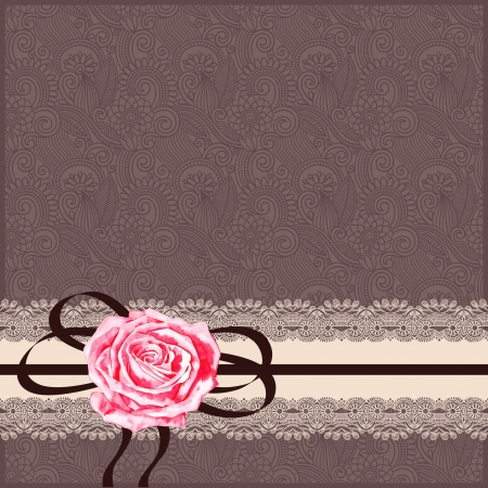 wedding card: ornamental card pattern with napkin, ribbon  and rose