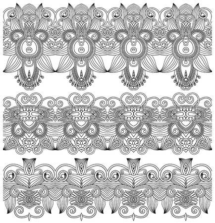 black and white collection of seamless ornamental floral stripes Vector