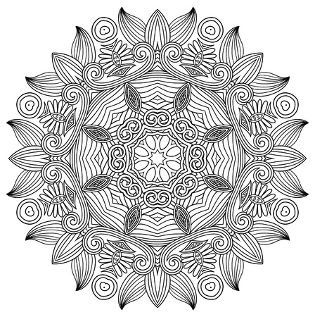 black and white circle flower ornament, ornamental round lace design Vector