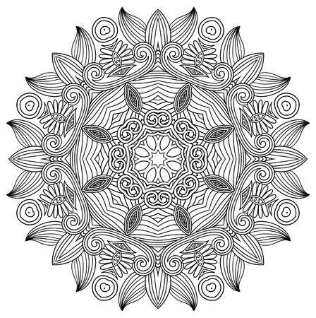 mandala flower: black and white circle flower ornament, ornamental round lace design