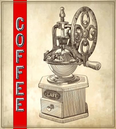 molinillo: Sketch dibujo de la amoladora de café en fondo del grunge