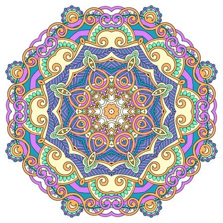 Circle flower ornament, ornamental round lace design