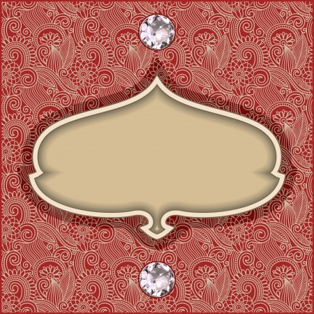 vintage template with diamond jewel on floral background  Vector