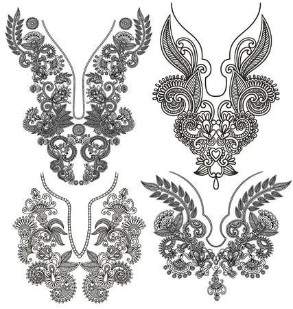 kashmir: collection of ornamental floral neckline embroidery fashion Illustration