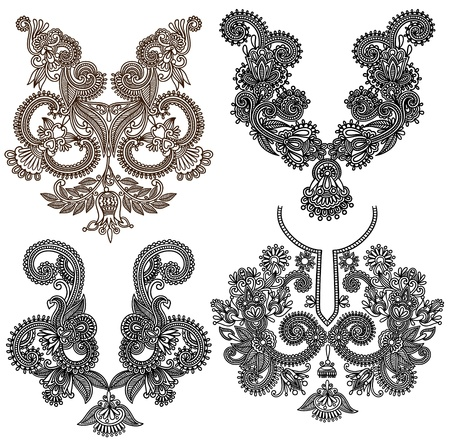neckline: collection of ornamental floral neckline embroidery fashion Illustration