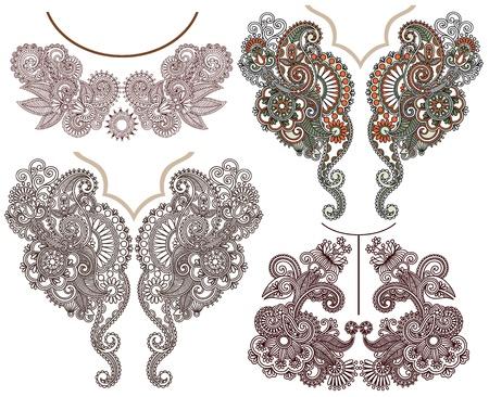 観賞用の花胸元刺繍ファッションのコレクション  イラスト・ベクター素材