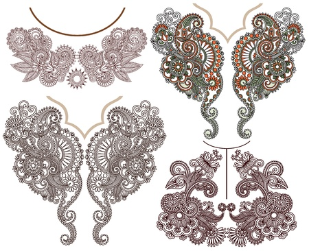henna design: collection of ornamental floral neckline embroidery fashion Illustration