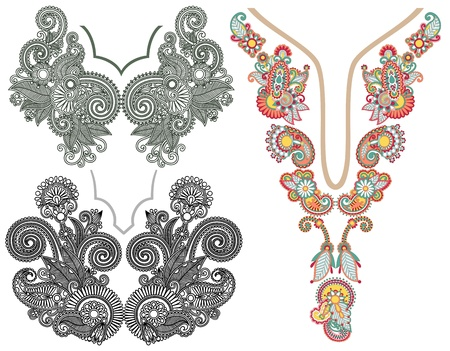 embroidery on fabric: collection of ornamental floral neckline embroidery fashion Illustration
