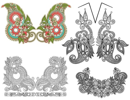 collection of ornamental floral neckline embroidery fashion Stock Vector - 15579655