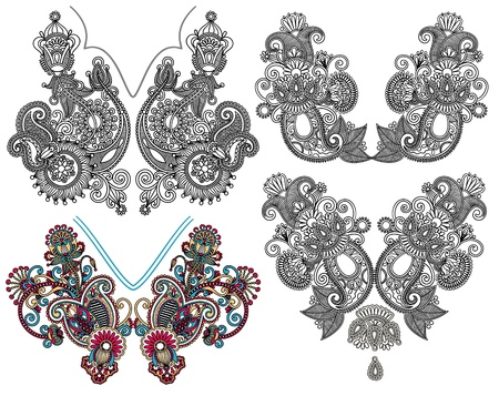 neckline: collection of ornamental floral neckline embroidery fashion, ukrainian traditional style  Illustration