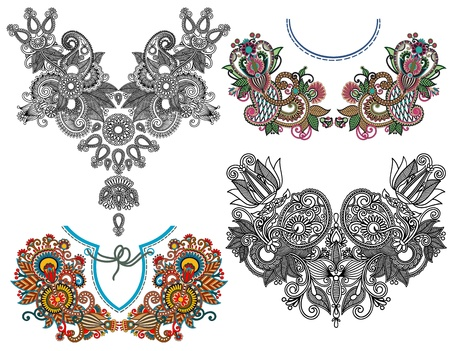 collection of ornamental floral neckline embroidery fashion, ukrainian traditional style Vector