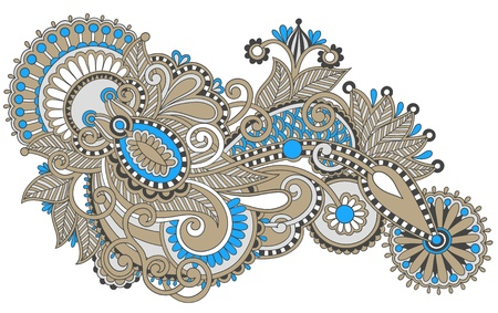 hindi: original hand draw line art ornate flower design. Ukrainian traditional style