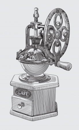 machine shop: Sketch drawing of coffee grinder Illustration