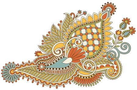 Traditional Flower Line Drawing : Hand draw black and white line art ornate flower design. ukrainian