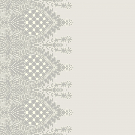embroidery on fabric: Ornamental seamless stripe, decorative element Illustration