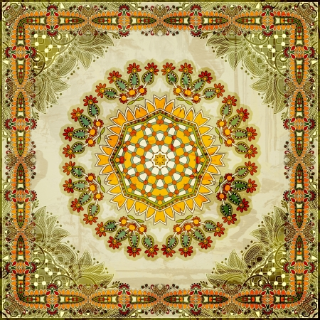 Traditional ornamental floral paisley bandanna. You can use this pattern in the design of carpet, shawl, pillow, cushion photo