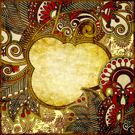 grunge vintage template with ornamental floral pattern photo