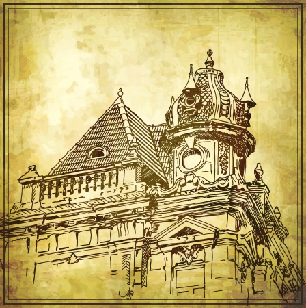 Sketchy drawing of historical building in grunge background. My own artwork photo