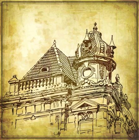 Dessin sommaire de bâtiment historique dans le fond grunge. Mon propres créations