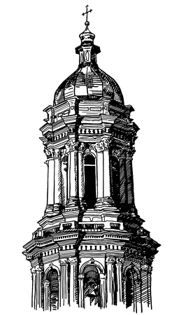 digital drawing of historical building, Kiev, tower Pecherskaya Laurel, vintage engraving style Vector