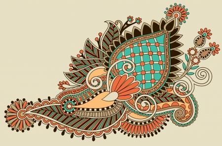 Traditional Flower Line Drawing : Black line art ornate flower design ukrainian ethnic style