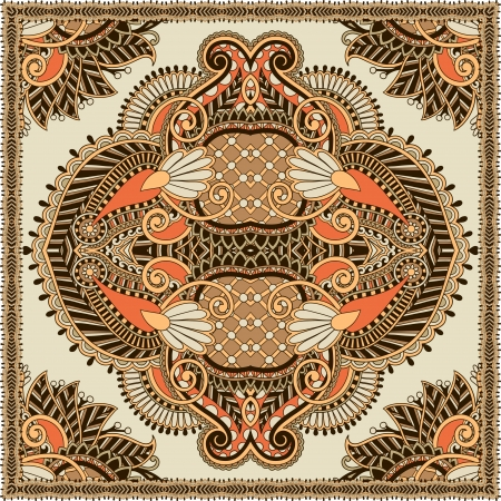 Traditional ornamental floral paisley bandanna. You can use this pattern in the design of carpet, shawl, pillow, cushion Illustration