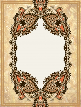 Vintage ornamental floral frame in grunge background  Vector
