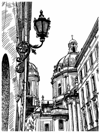 building sketch: digital drawing of Lviv (Ukraine) historical avenue