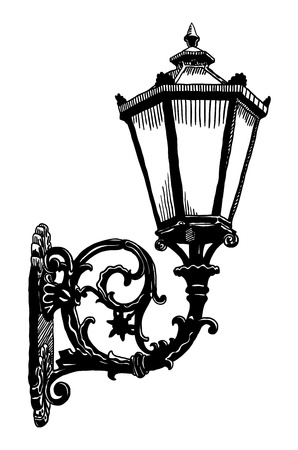 ink drawing of vintage sketch design element, vintage lantern Illustration