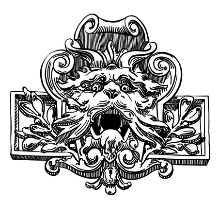 ink drawing of vintage sketch design element of Lviv (Ukraine) historical building, heraldic lion in floral composition Vector