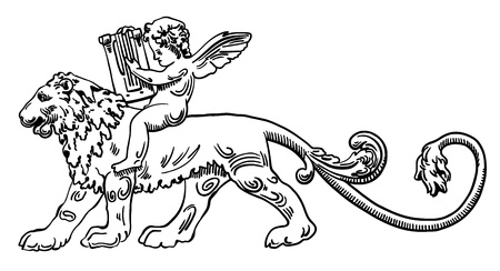 ink drawing of vintage sketch design element of Lviv (Ukraine) facade historical building. Heraldic lion with angel make music Stock Vector - 16557022