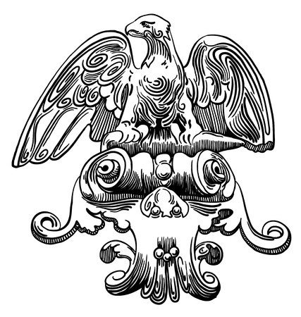 ink drawing of vintage sketch design element of Lviv (Ukraine) facade historical building, heraldic eagle Vector