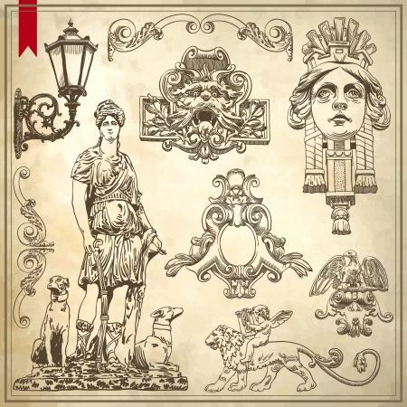 手はリヴィウ ファサード歴史的建造物、ウクライナのビンテージ スケッチ装飾デザイン要素を描画します。設定: 書道のデザイン要素やページ装飾  イラスト・ベクター素材