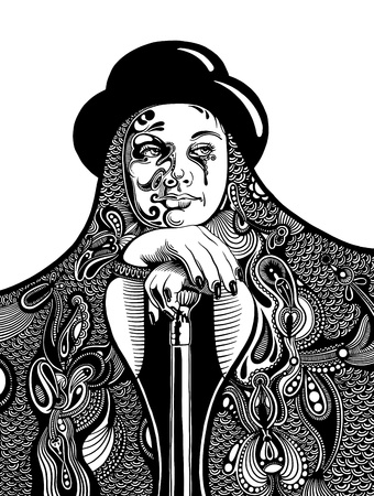 black and white artistic digital drawing of young witch in a hat and with a vintage walking stick Vector