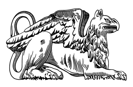 griffin: Decorative element of the facade of a historic building in Lviv (Ukraine), griffin