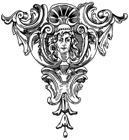 Decorative element of the facade of a historic building in Lviv (Ukraine) Vector