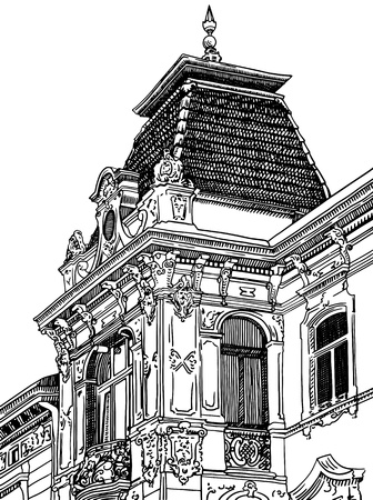 digital drawing of Lviv (Ukraine) historical building Vector