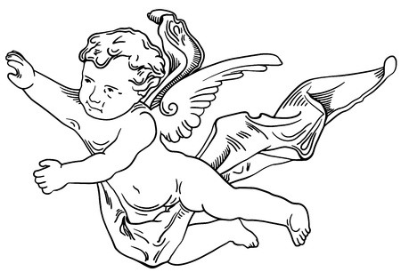 Decorative element of the facade of a historic building in Lviv (Ukraine), angel Vector