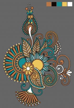 ethnic style: original hand draw line art ornate flower design. Ukrainian traditional style Illustration