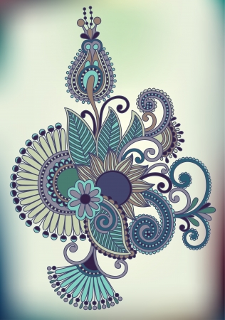 hindi: Hand draw line art ornate flower design. Ukrainian traditional style
