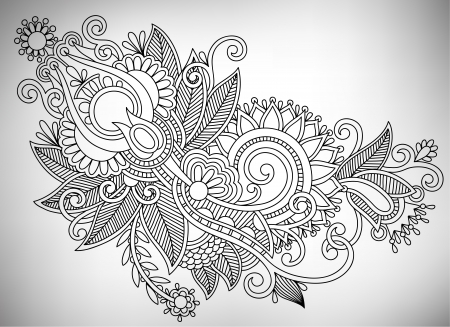 intricate: Hand draw line art ornate flower design. Ukrainian traditional style