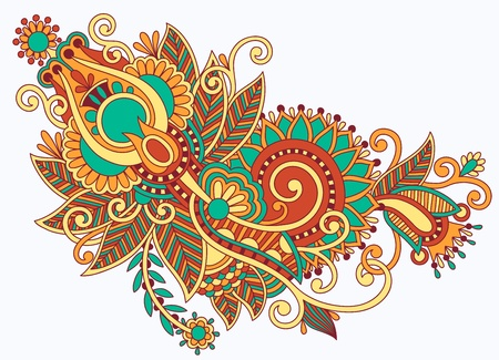broderie: tirage initial ligne à main art floral design fleuri. Ukrainienne style traditionnel Illustration