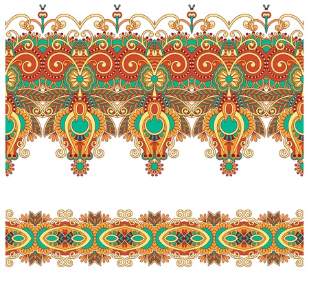 ukrainian: collection of seamless ornamental floral stripes Illustration